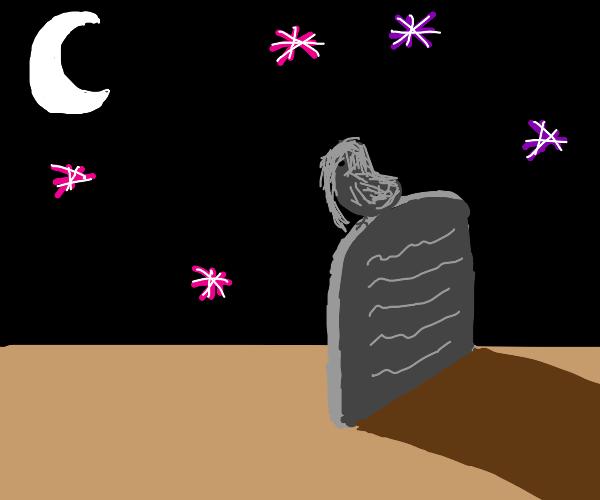 goth bird in graveyard on a magical night