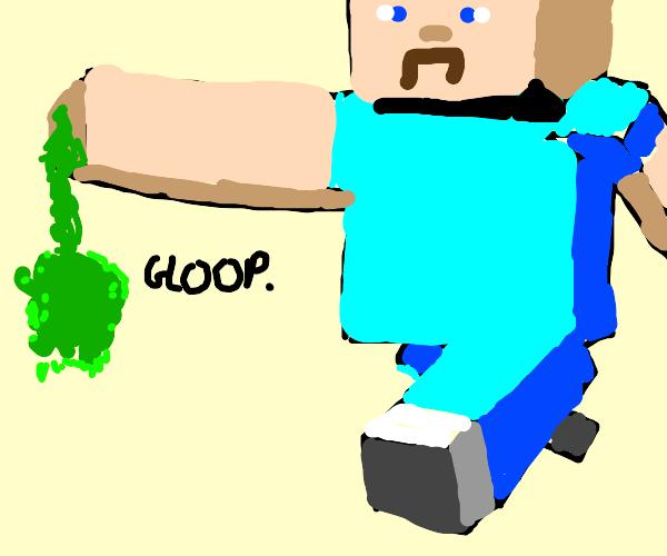 Minecraft Steve is afraid of slime