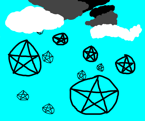 Clouds raining pentagrams