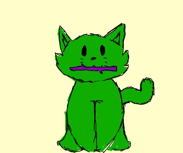 Green cat eats a purple stick