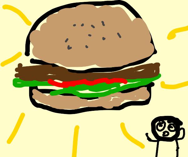 a delicious looking burger oh my god deliciou