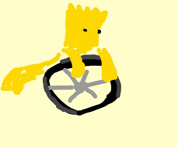 Boy riding wheel