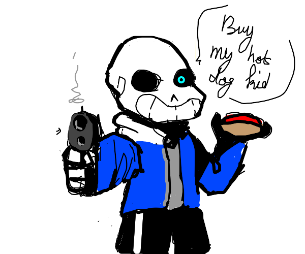 Sans with a gun wants you to buy his hot dog.
