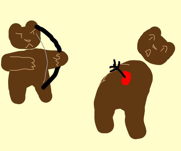 Bear kills other bear with arrow