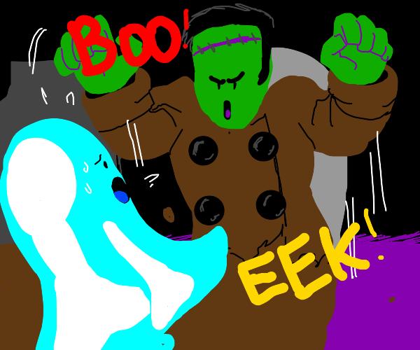 frankenstein's monster spooks a ghost