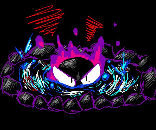 Evil Ghastly (Pokémon) in a koi pond