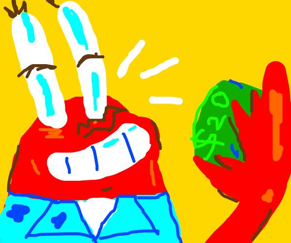 Mr krabs has a $20 bill