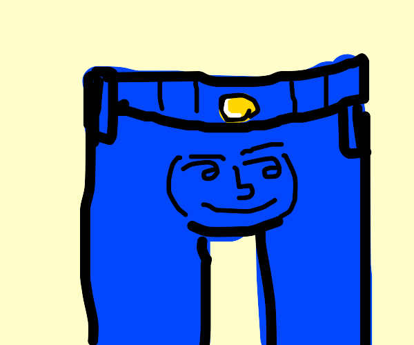 angry lenny face on the crotch of jeans