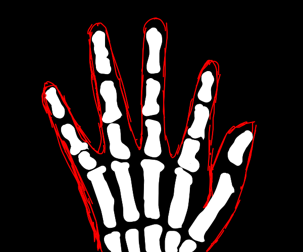 Xray of hand, red hud displaying info