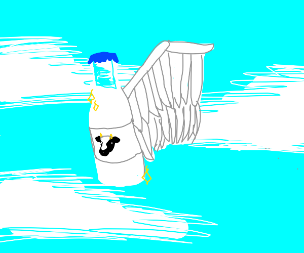 Angel of milk flies through paradise