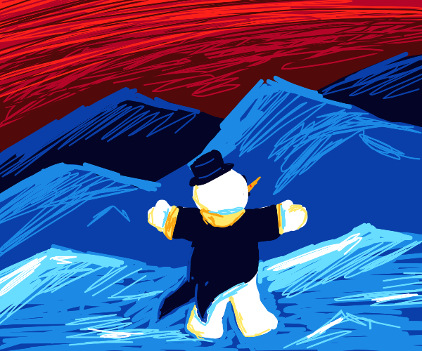 Snowman in a suit dances in snowy mountains