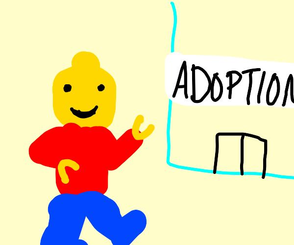 lego guy goes to the adoption center