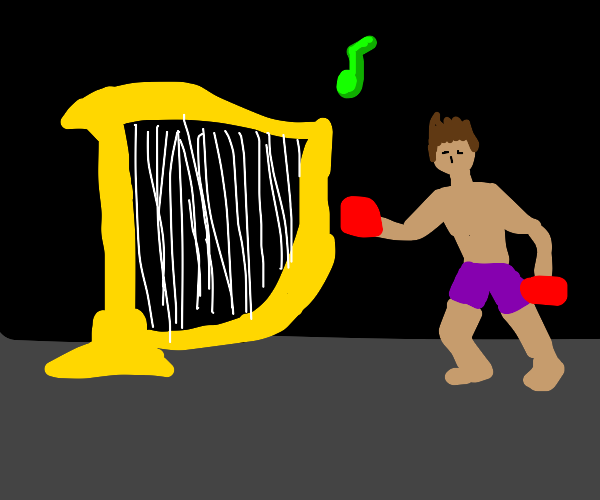 Boxer plays the harp with boxing gloves