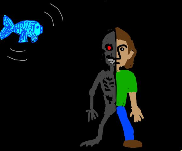 Half cyborg human at night with fish floating