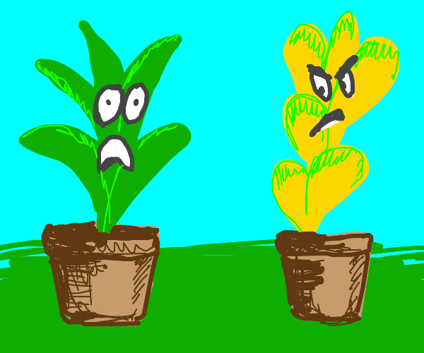 2pots. Green plant afraid of evil yellow one