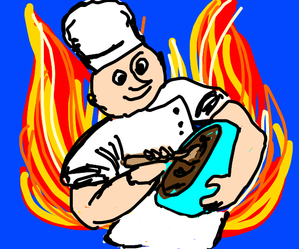 Chef cooking in front of fire