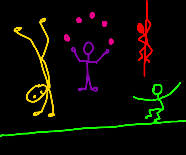 Different colored acrobats