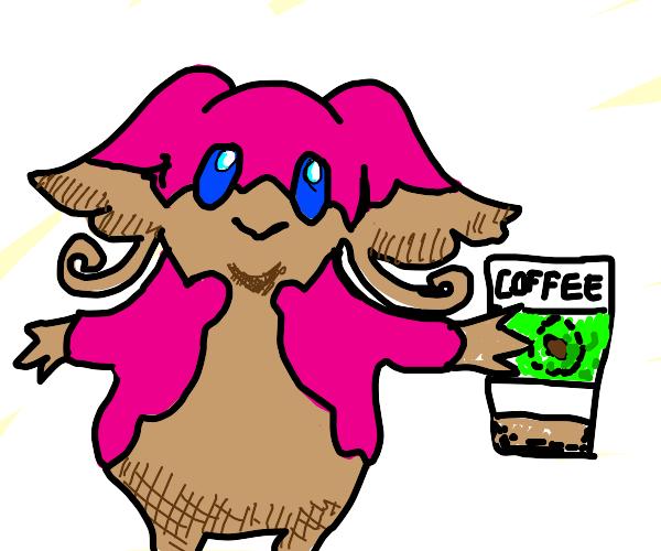 mega audino with coffee