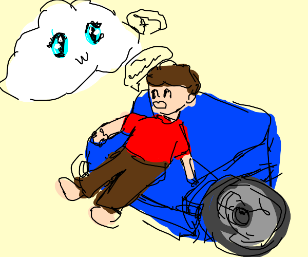 Guy on chouchmobile talking to anime cloud