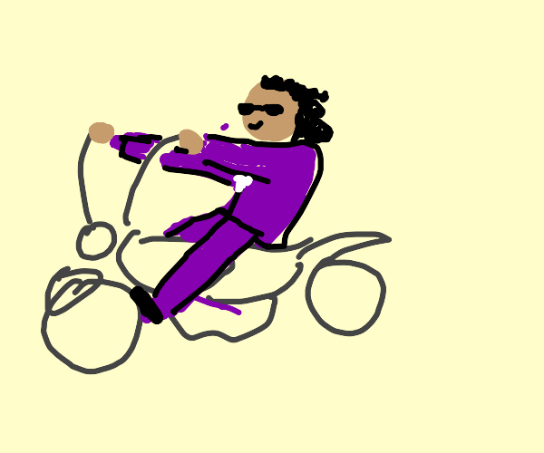 Prince (musician) on a motorcycle