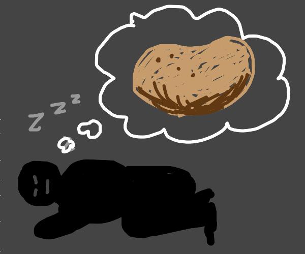 man dreaming about a potato