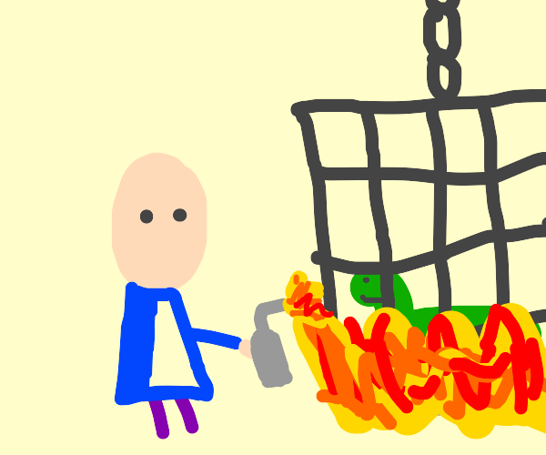 white dude burns a cage with a lizard