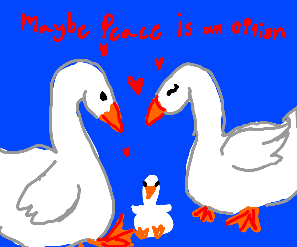 Two geese in love