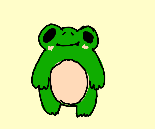 frog smiling shyly