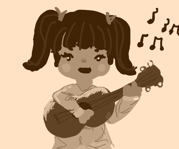Playing the ukulele and singing