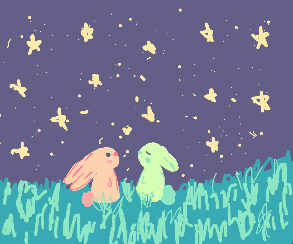 Two rabbits under the stars