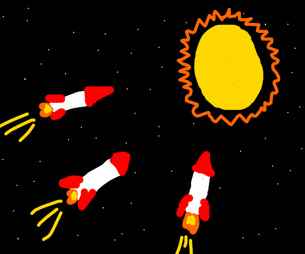 3 rockets fly to the sun