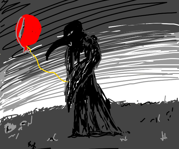 Plague doctor discovers helium balloons