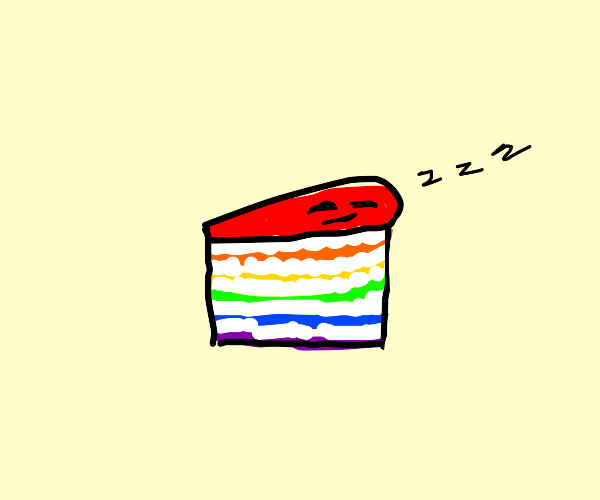 White frosted rainbow layer cake is asleep