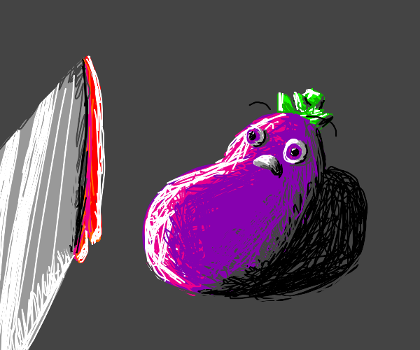 Eggplant About to be Cut with a Knife