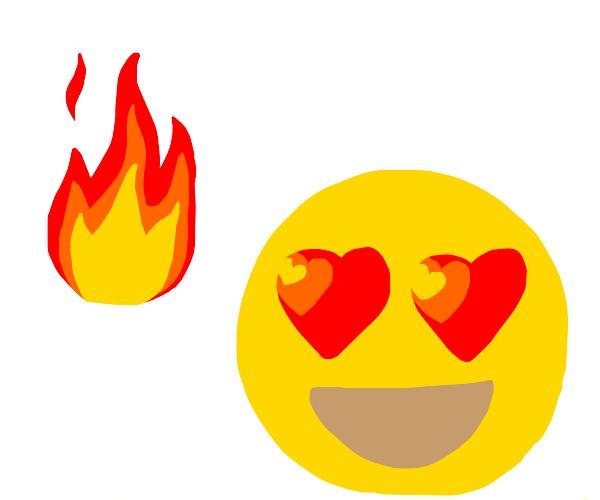 the hot emoji and the heart eyes emoji