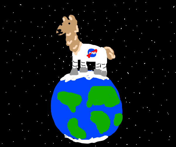 large astronaut llama stands on the earth