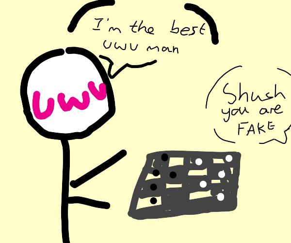 Wannabe uwu man plays board game