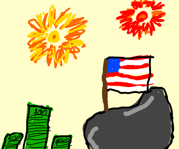 A rich rock celebrates the 4th Of July