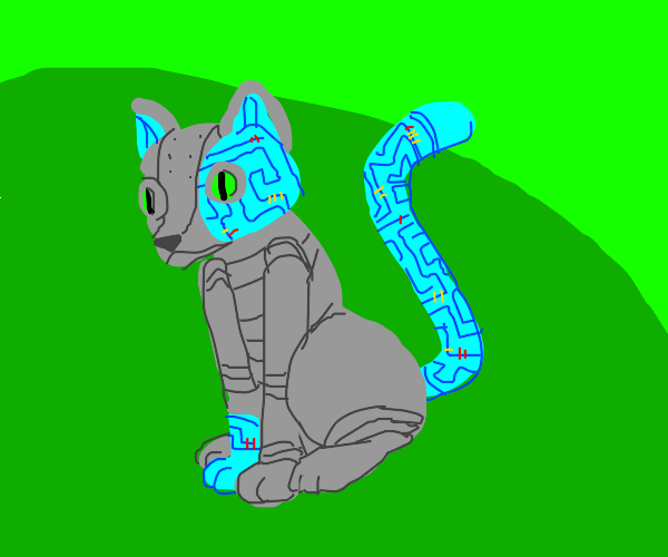 a cat made of electronic parts