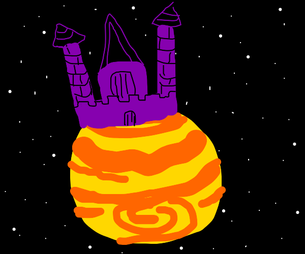 A purple & black castle on a planet in space.