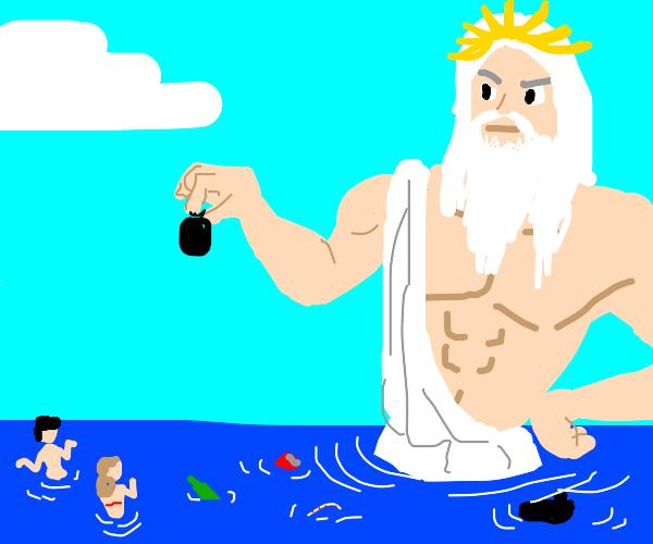 Poseidon cleans the ocean