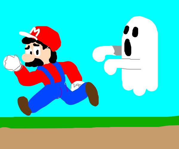 Mario runs away from a ghost