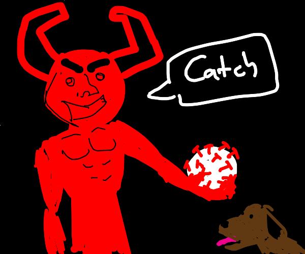 Demon giving dogs corona