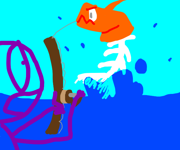 Guy fishes up orange sea monster head