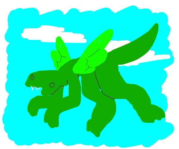 Lizard flying in the sky