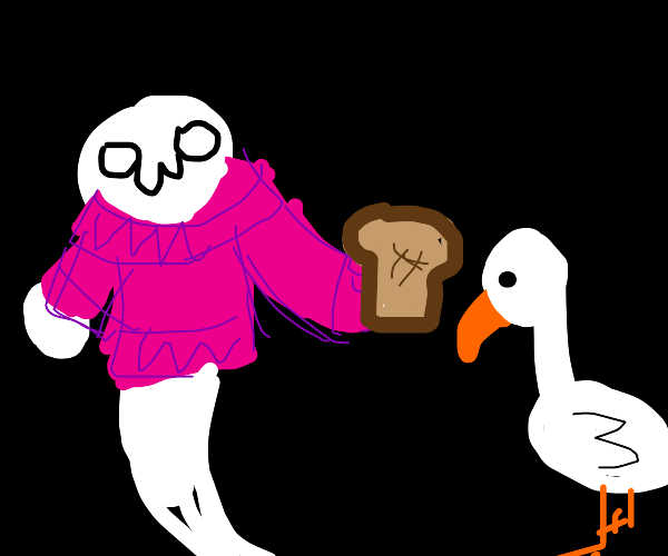 ghost in sweater feeding geese