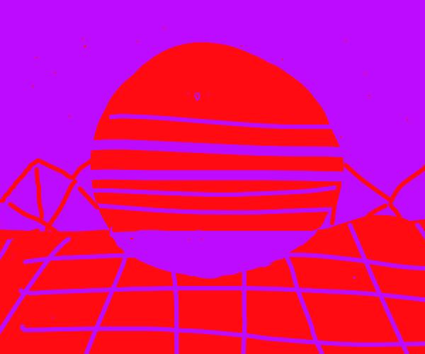 Eye burning synthwave sunset