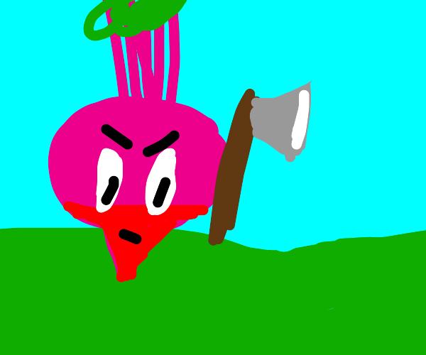 angry beetroot with an axe