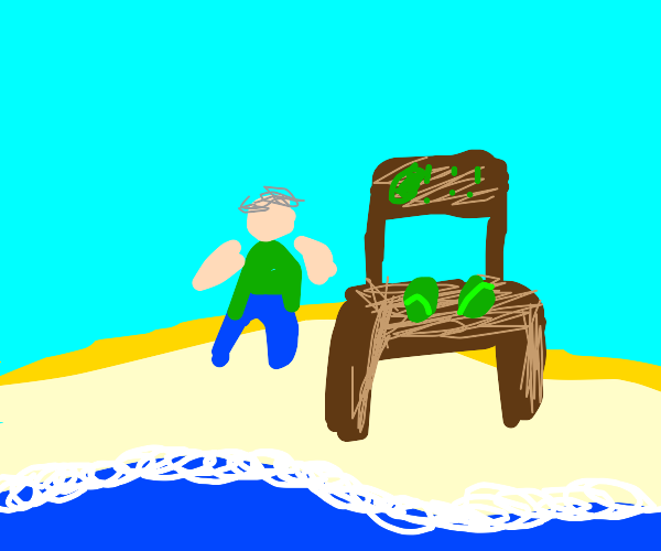 old man with cabbages on beach