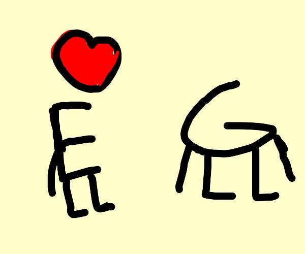E is in love